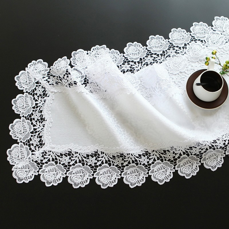White Modern Embroidery Rose Lace Fabric Coffee Table Runner Mats Flag TV Cabinet Dust Cover Towel Multiple Occasions Coaster
