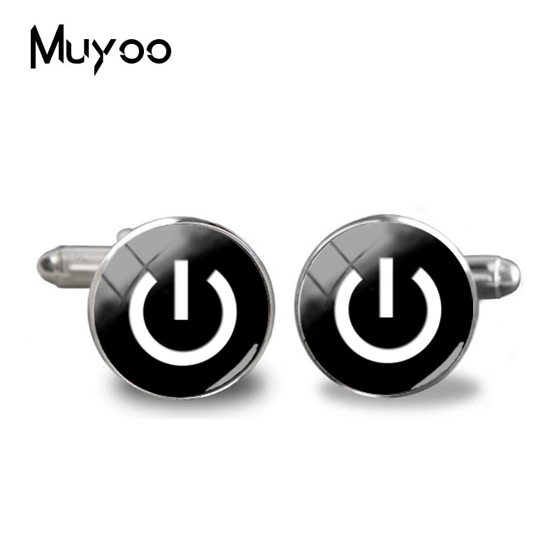 2018 New Power Button Silver Color Round Cuff Link On Off Pure Color Button Cufflinks High Quality Jewelry Shirt Cuff  Accessory