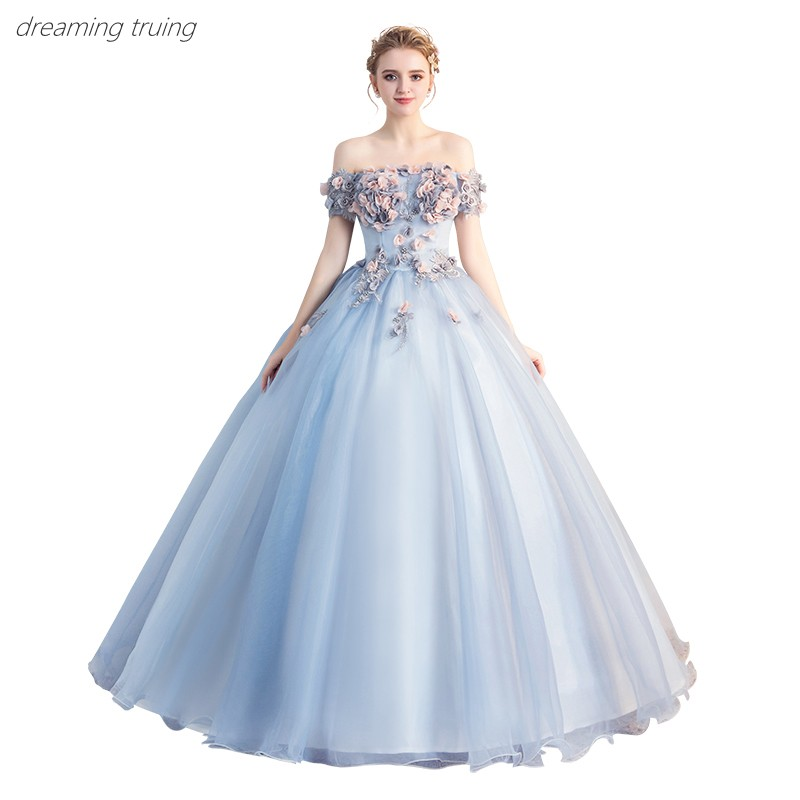 Vestidos De 15 Ball Gowns Sweet 16 Short Sleeve Boat Neck Long Sky Blue Quinceanera Dresses 3D Flowers For Quinceanera 15 Years