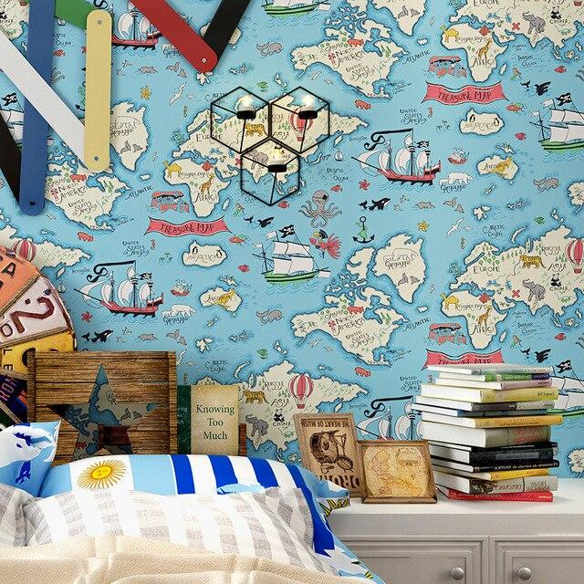 US $49.8  0,53x10 meter blaue Mittelmeer piratenschiff karte muster  kinderzimmer tapeten junge schlafzimmer bett vlies tapete in 0,53x10 meter  blaue ...