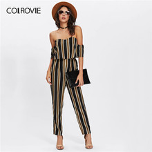 COLROVIE Flounce Layered Off the Shoulder Striped Casual Jumpsuit Women 2019 Summer Vacation Boho Ladies Rompers Womens Jumpsuit(China)