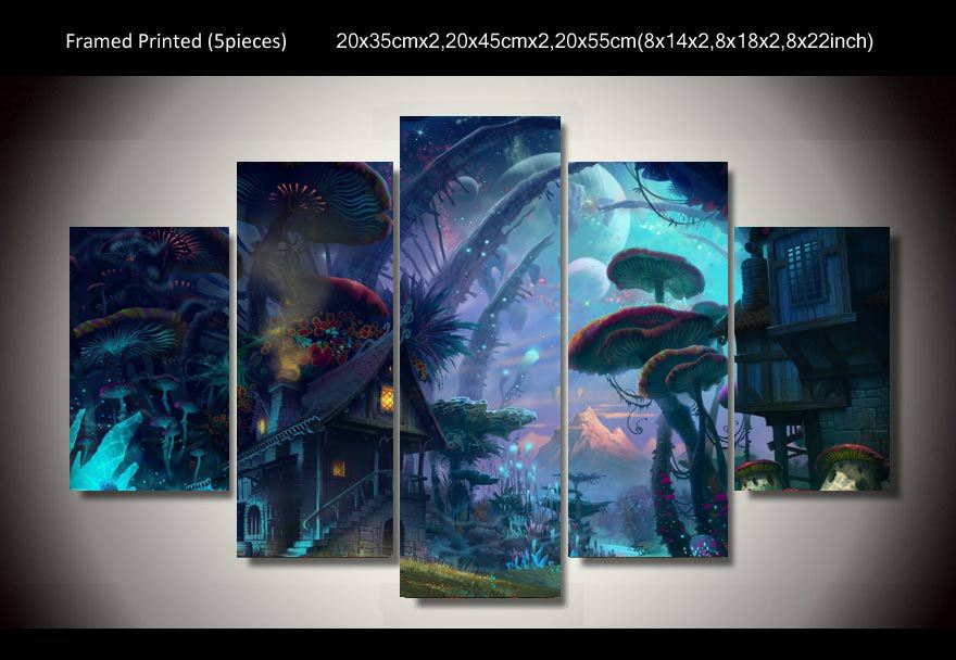 5 Panels World Of Warcraft Game Poster Wall Art Picture Home Decoration Living Room Oil Printed