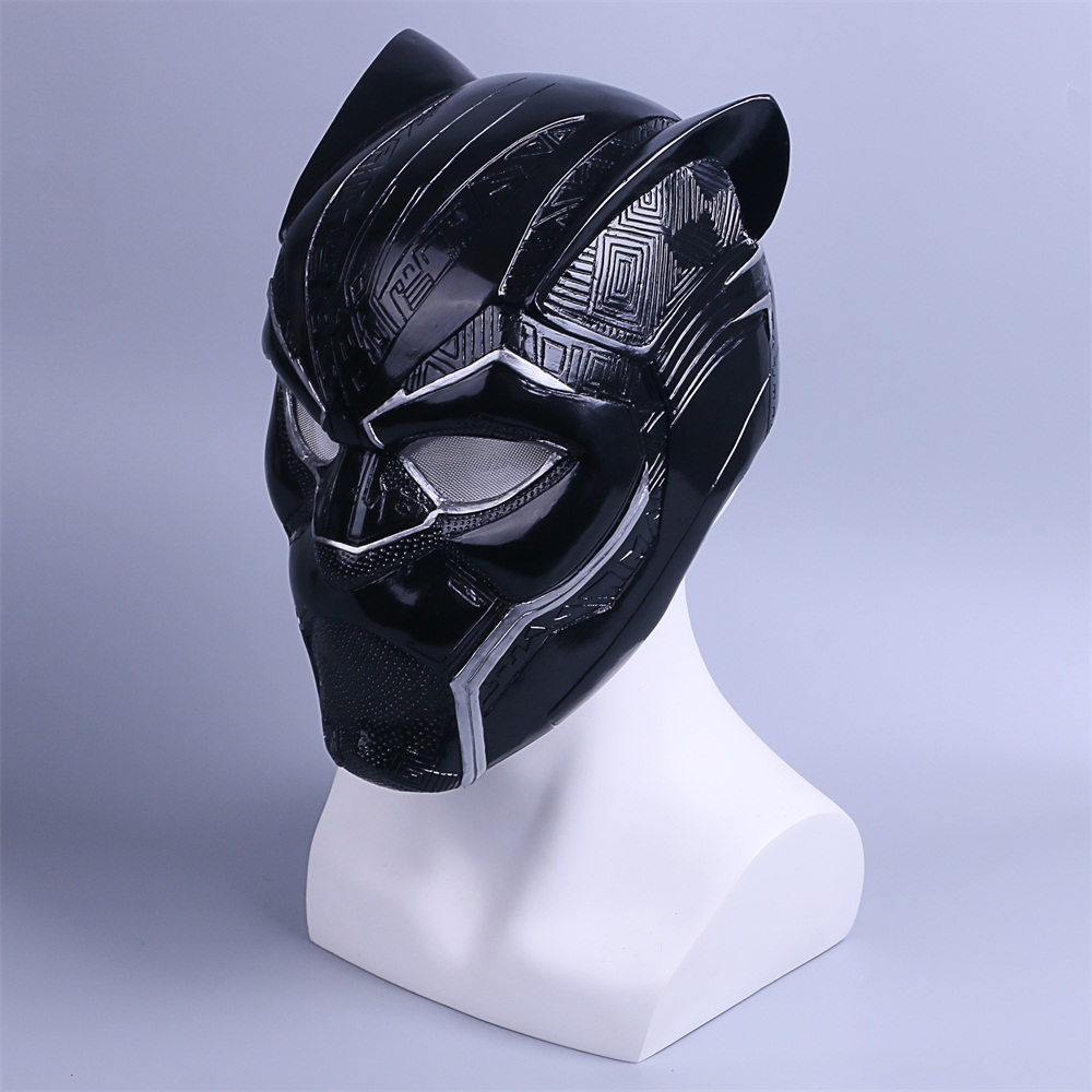 2018 New Black Panther Helmet Cosplay T'Challa Mask Costume Halloween Helmet Handmade PVC prop (4)