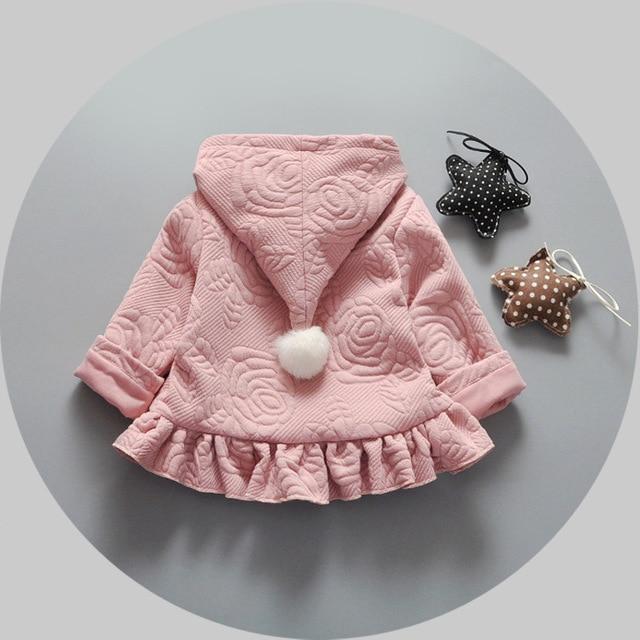 2016 весна осень дней куртка младенца девушка принцесса одежда хлопка с капюшоном куртки ребенка кардиган куртку детей 1-3 Т бесплатная доставка