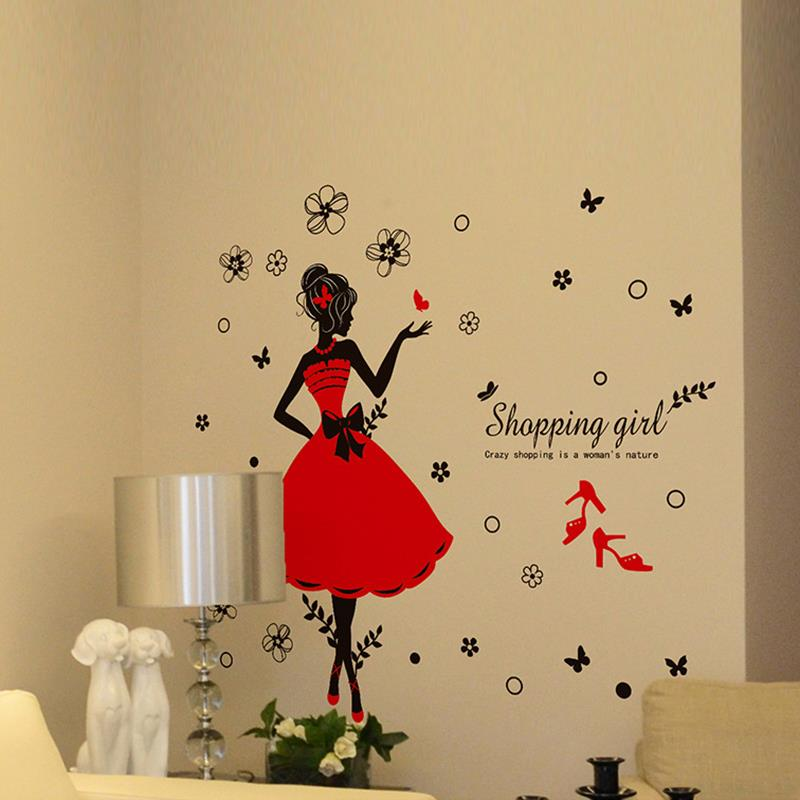 DIY Mural Happy Shopping Beautiful Girl Wall Stickers Butterfly Flowers Art Wall Decal Home Decor Bedroom