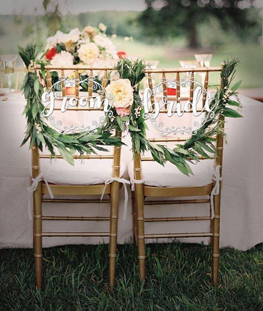 wedding bride and groom chairs chair covers for bar height signs reception sweetheart table decor centerpiece mr mrs