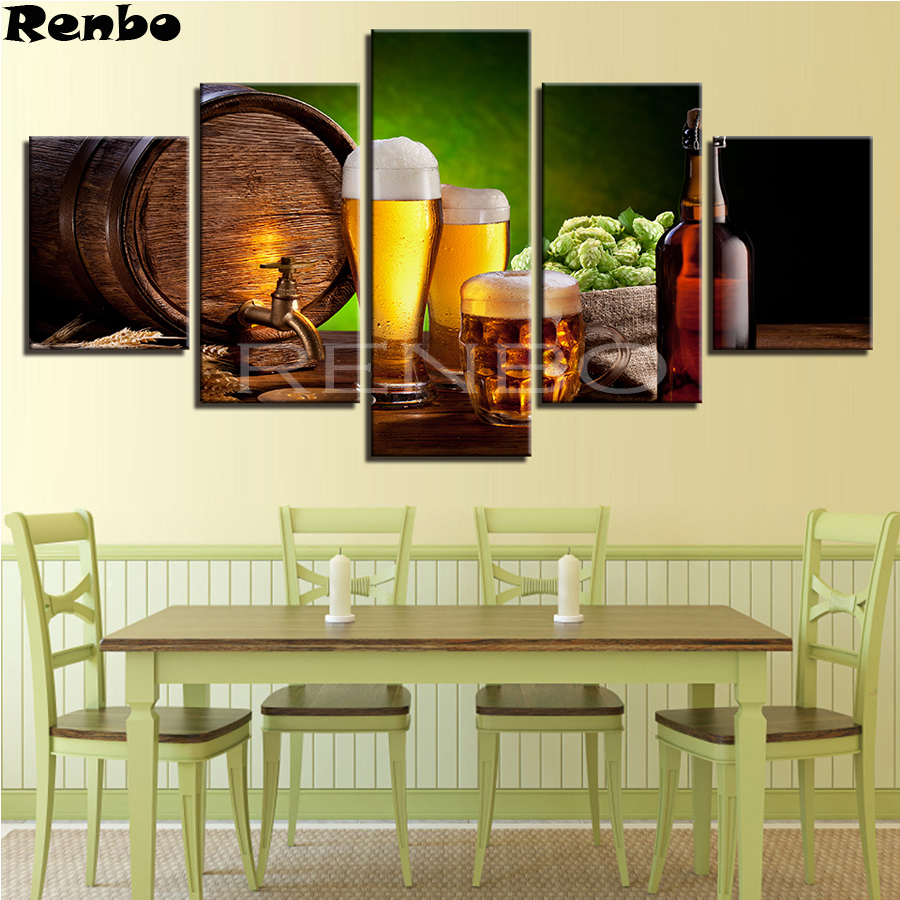 Kitchen Wall Art DIY diamond painting cross stitch 5 Pieces Beer And Wine Glass 3d square