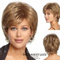 Synthetic hair short cut Wigs for Women sexy formula hair wigs straight Blonde wigs side bangs pelucas pelo natural hairline