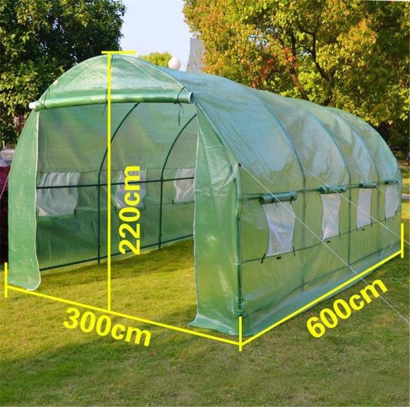 Narzędzia ogrodowe rozmiar 6m x 3m x 2m wystarczająco silny 36 kg/zestaw duży cieplarnianych namioty tunelowe z dwoma parami drzwi z oknem łuk osłona izolacyjna w Szklarnie rolnicze od Dom i ogród na  Grupa 1