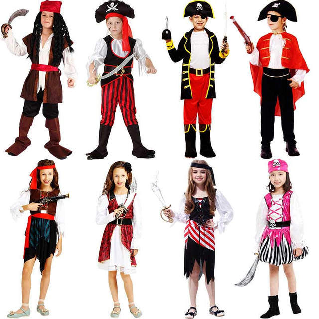 pirates in the caribbean captain jack sparrow kids pirate clothing girls boy girl cosplay halloween costume for kids boys