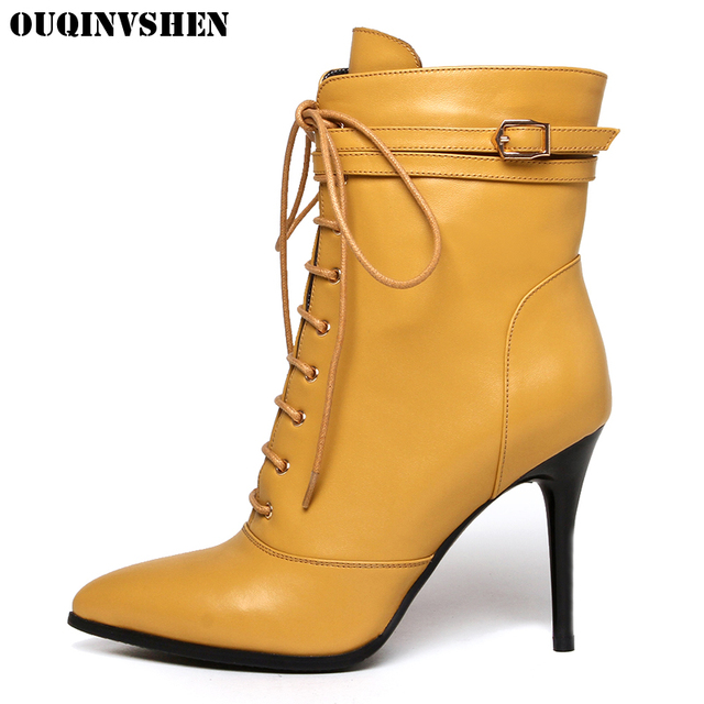 OUQINVSHEN Pointed Toe Thin Heels Women Boots Zipper Buckle Ladies Ankle Boots Extreme High Heels Genuine Leather Women's Boots
