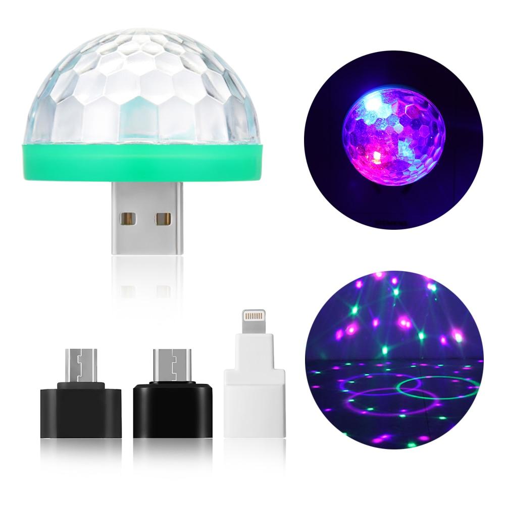 1 Stück Kühlen Mini Auto Usb Atmosphäre Licht Dj Rgb Bunte Musik Sound Lampe Für Usb-c Telefon Musik Steuer Magie Ball