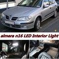 6 X Erro Free Car LED Veículo Brilhante Interior Mapa cúpula Luzes de Porta Kit de acessórios Pacote para nissan almera n16 2000-2006