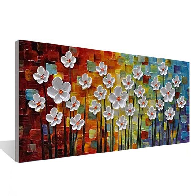 مائة زهرة معا ثلاثية الأبعاد حائط لوح رسم فن غرفة المعيشة غرفة نوم مطعم الداخلية رسمت باليد النفط الطلاء
