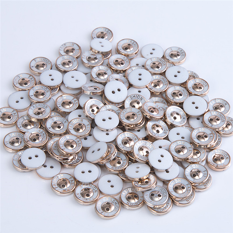 10 x 12mm metallic plastic gold decorative blouse buttons with two holes