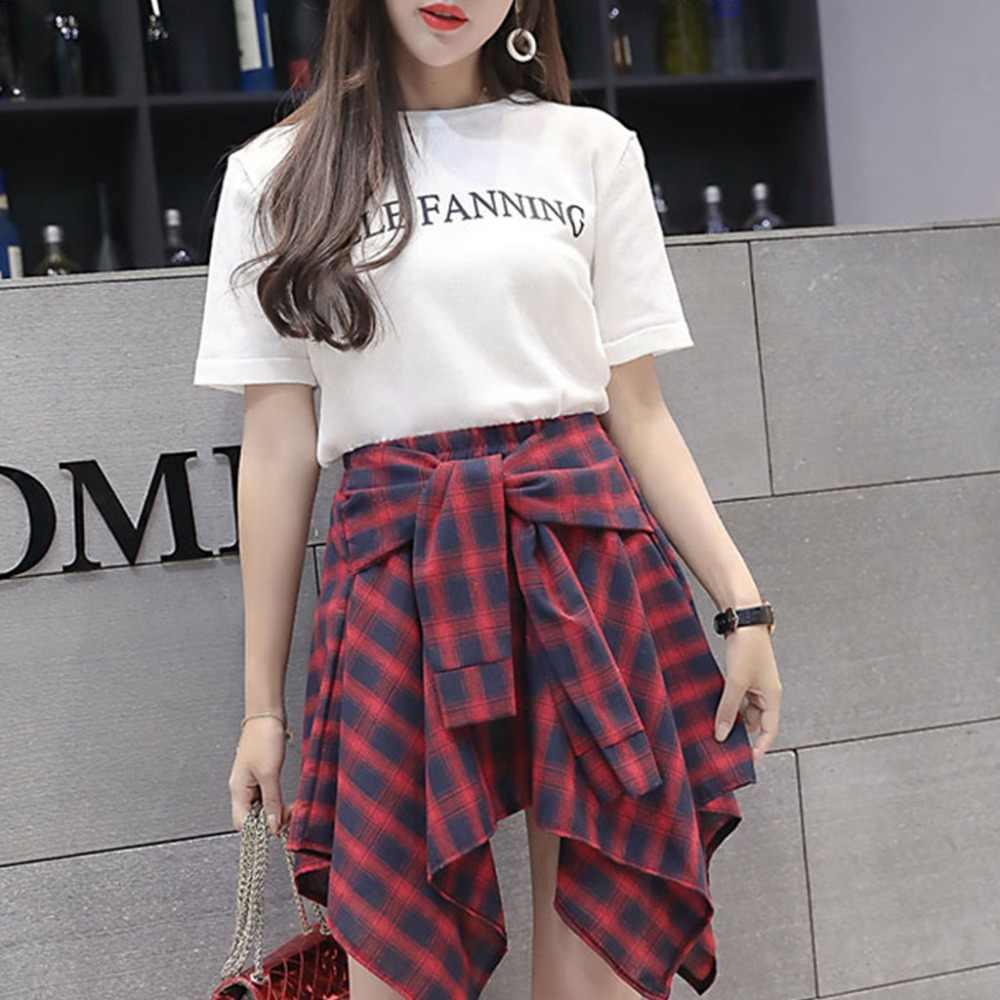 6b242e1f19b0d Womens Girl Elastic Waist Plaid School Skater Mini Skirt Causal Knot Front  Skirt