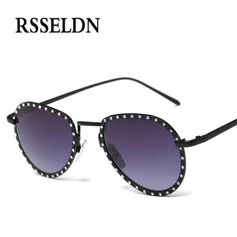 RSSELDN Fashion Rhinestone Sunglasses Women Brand Designer Metal Style Vintage Sun Glasses UV400 oculos de sol