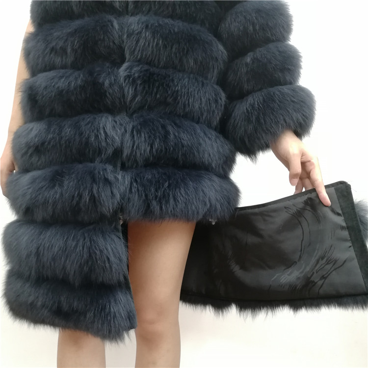 100% Natural Real Fox Fur Coat Women Winter Genuine Vest Waistcoat Thick Warm Long Jacket With Sleeve Outwear Overcoat plus size 23