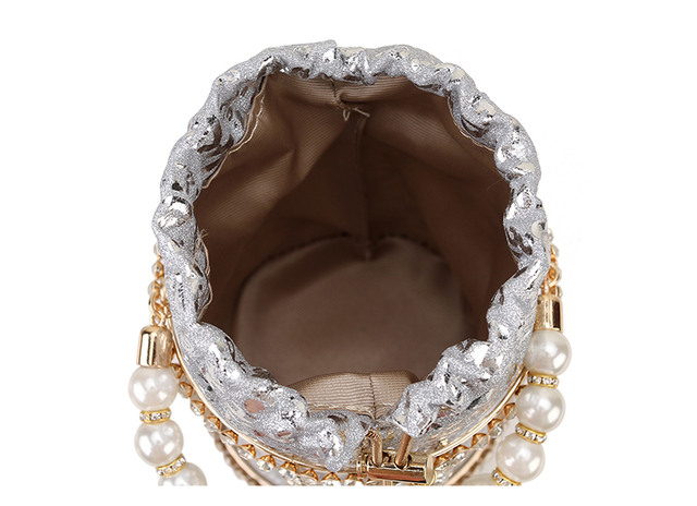 Luxury Diamond Metal Bucket Pearl Handle Chain Shoulder Bag 6