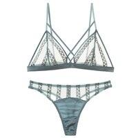shaonvmeiwu Sexy thin triangle cup bralette transparent bra g string set underwear summer