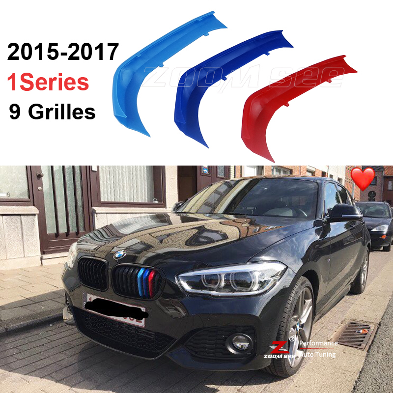 3D M Styling Front Grille Trim motorsport Strips grill Cover Sticker For 2015-2018 BMW 1 series F20 F21 116i 118i 120i 9 grilles gloss black front dual line grille grill for bmw f20 f21 1 series 118i 2010 2011 2012 2013 2014
