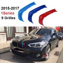 3D M Styling przód Grille tapicerka motorsport paski osłona grilla naklejki dla 2015 2018 BMW 1 seria F20 F21 116i 118i 120i 9 kratek