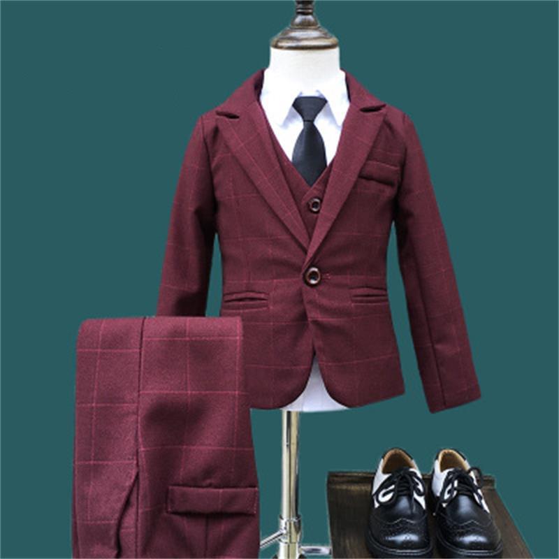 New Children Suit Baby Boys Suits Kids Blazer Boys Formal Suit For Wedding Boys Clothes Set Jackets Blazer+Pants 3pcs 2 10Y