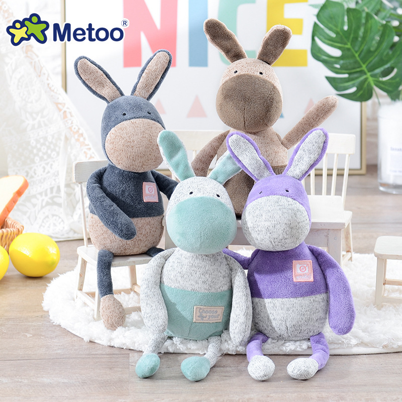33cm Donkey Kawaii Stuffed Plush Animals Cartoon Kids Toys for Girls Children Baby Birthday Christmas Gift Metoo Doll cartoon fox plush toys donkey cute animal plush education toys for baby kids birthday gift