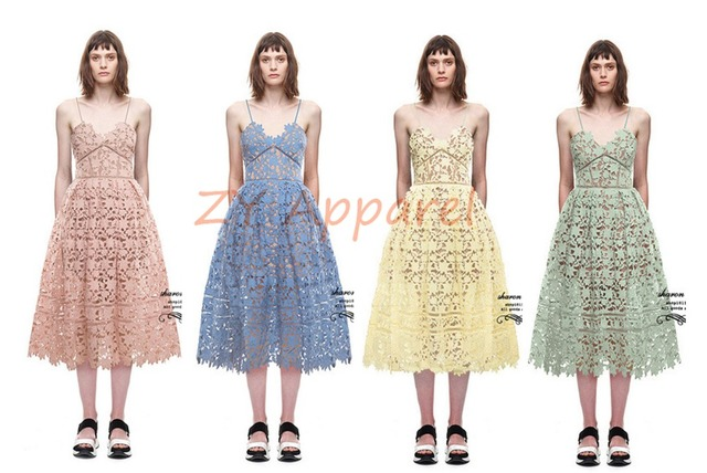 242e3f0571c8 2016 New Vestidos 2016 New arrive self portrait Azaelea flower lace dress  Beach Summer Dresses 4 Colors Green Blue Pink Yellow