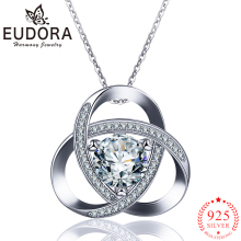 EUDORA s925 Silver Latest Pendant Necklace with Round CZ Zircon-jewelry Clear Zircon necklace for Women Elegant Jewelry Gift D94 todorova clear cz cubic zircon double round circle forever pendant necklace for women simple geometric necklace jewelry gift