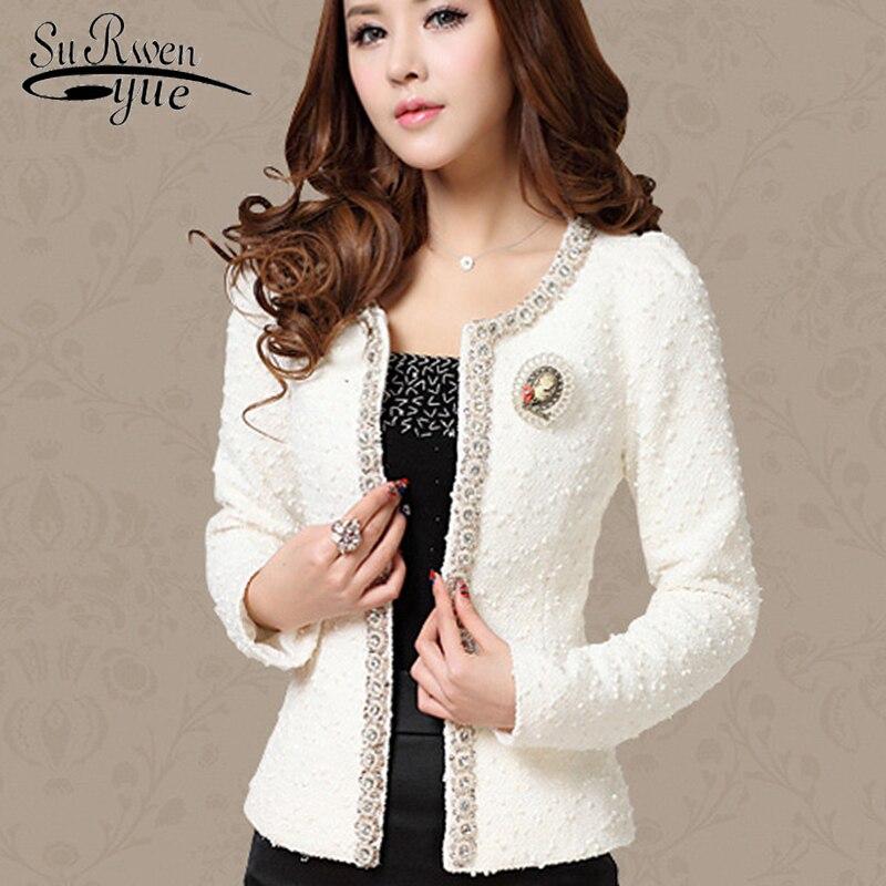 2018 mode Automne Hiver Femmes manteaux à manches longues noir blanc Élégant Diamant mince femmes veste Plus La taille vestes courtes 661B