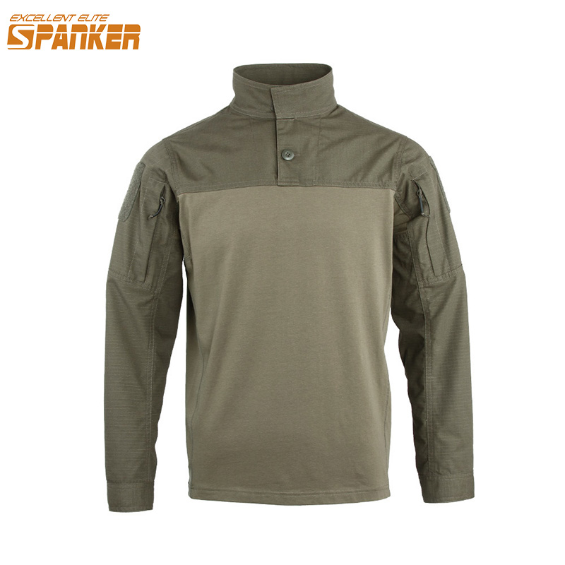 EXCELLENT ELITE SPANKER Tactical Men Long sleeve T-shirt Military Camouflage Army T-shirt Jungle Hunting Assault Cotton T Shirts grid hollow design t shirts in army green