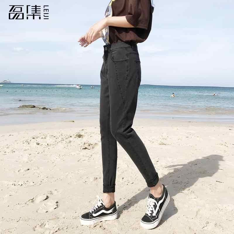Jeans mulher cintura alta plus size 2019 nova moda tornozelo-comprimento magro cinza preto femme harem denim calças 100kg