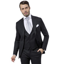 Terno Para Casamento Custom Made Black Handsome Mens Slim Suits Tuxedos Grooms Suit Men's Wedding Suits Business Suits