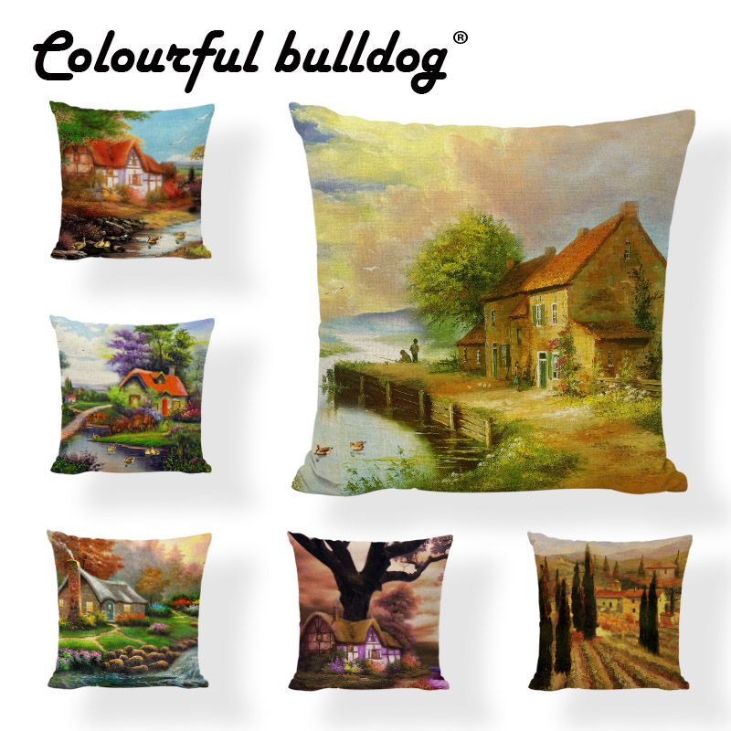 Creative Country Style Cushion Cover River Brick House Water Ducks Egrets Pillowcase Chi ...