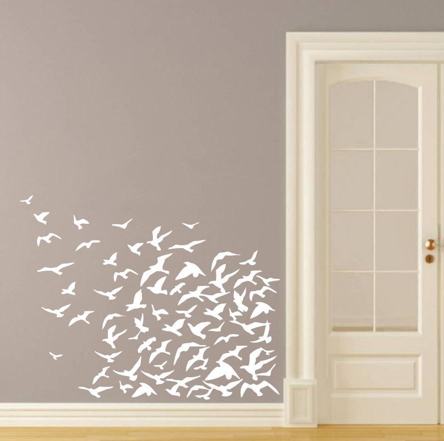 ed1115 Wall Decal Birds Flight Fly Word Romance Vinyl Sticker