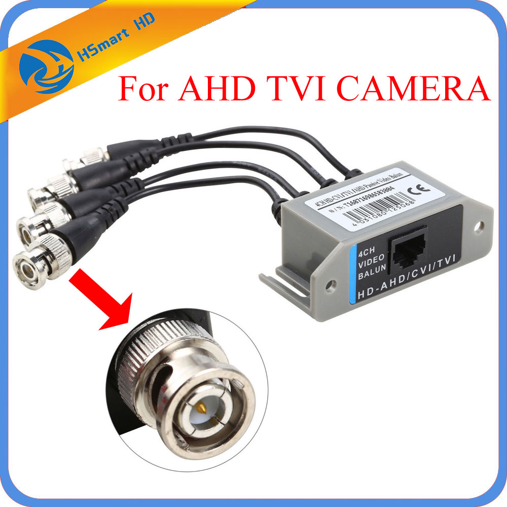 New Hot 4CH HD Passive Video Balun Transceiver BNC To UTP RJ45 CCTV Via Twisted Pairs for AHD TVI CVI Camera DVR CCTV System