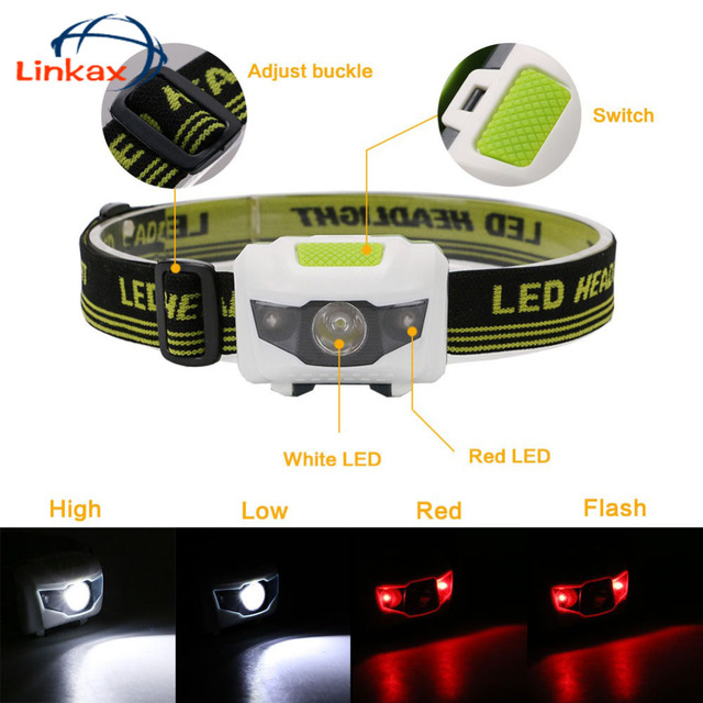 Mini 4 modes Headlight Battery LED Headlamp Lanterna Head Torch Light for Camping Mini Headlamp Light Torch