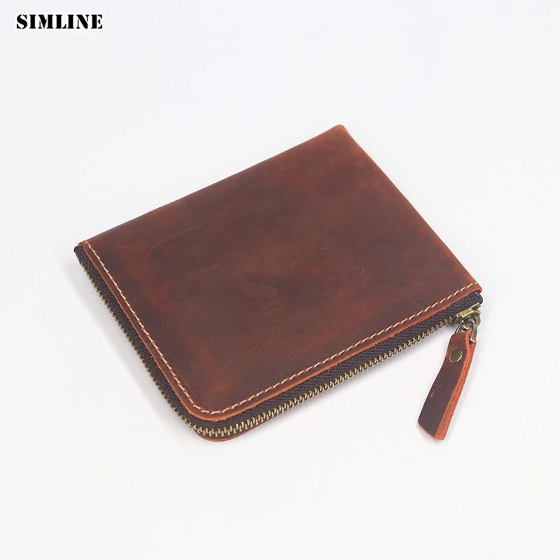 SIMLINE Tulen Lelaki Kulit Kuda Crazy Wallet Lelaki Vintage Zipper Kecil Pendek Slim Mini Dompet Coin Purse Card Holder Wanita