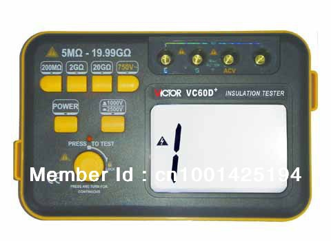 The y of authentic VC60D+ digital high voltage megger shaking table 1000V/2500V insulation resistance tester  as907a digital insulation tester megger with voltage range 500v 1000v 2500v