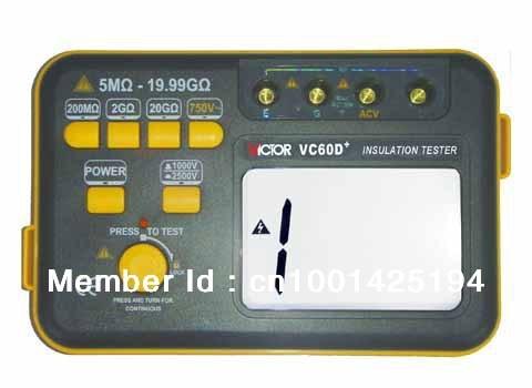 The y of authentic VC60D+ digital high voltage megger shaking table 1000V/2500V insulation resistance tester as907a digital insulation tester megger with voltage range 500v 1000v 2500v