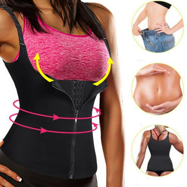 FDBRO Women Abdominal Support Belt Waist Trimmer Press Belt Sports Corset Girdle Zipper Vest Slim Weight Trainer Body Shaper 2
