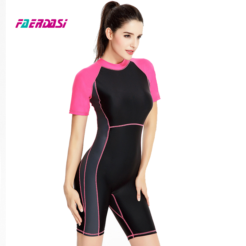 цена на Faerdasi Women Patchwork One Piece Swimwear Quick Dry Zipper Bathing Suit Female Sports Swimsuit Bodysuit Competition Beachwear