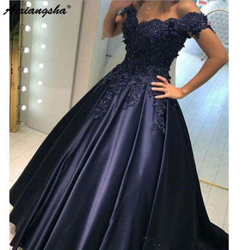 New Arrival Dark Blue Long Satin Prom Dresses 2019 A Line Off Shoulders Appliqued Beads Robe de soriee Evening Gowns Formal
