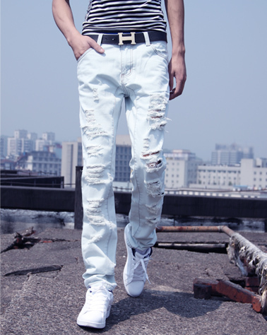 HOT! New Arrival Mens Jeans White Hole Jeans Beggar Style Pants Male Taper Straight Slim High Quality Men Pants Plus Size  MB324 hot new arrival mens jeans white hole jeans beggar style pants male taper straight slim high quality men pants plus size mb324