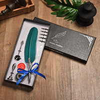 English Calligraphy Vintage Feather Pen Set Writing Pen Stationery Gift Box with 5 Nib Wedding Gift Quill Dip ink Fountain Pen