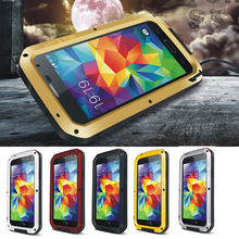 Любовь Мэй для Samsung Galaxy S5 I9600 случае Водонепроницаемый противоударный алюминиевый Металл броня закаленное стекло полная защита телефон охватывает