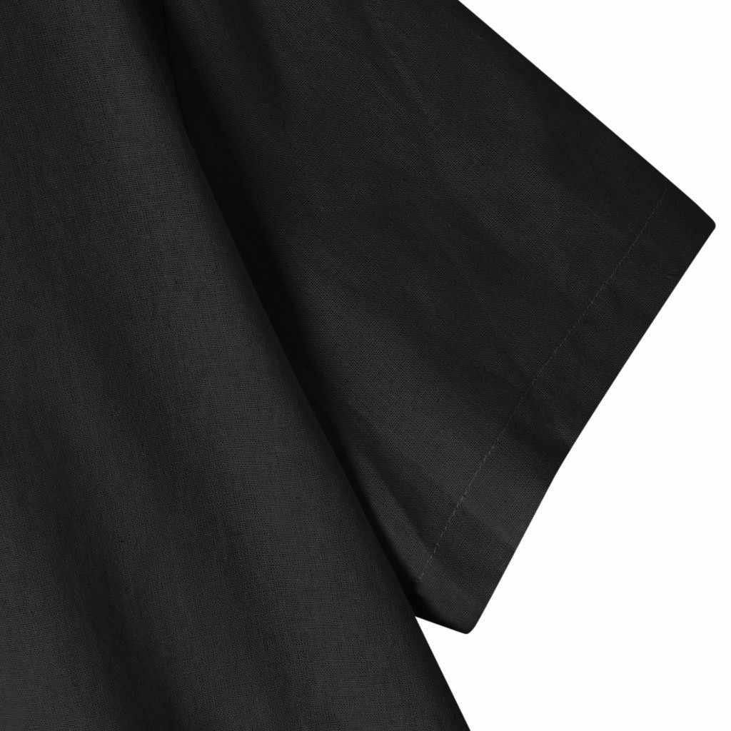 ファッションメンズシャツ夏リネン半袖 0 襟無地ルーズスリムフィットカジュアルシャツブラウスメンズ camisas デ hombre 2019
