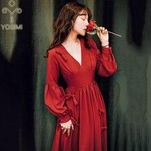 YOSIMI летнее длинное женское платье красного цвета с длинным рукавом и v-образным вырезом, винтажные женские вечерние платья, элегантное платье макси с длинным рукавом