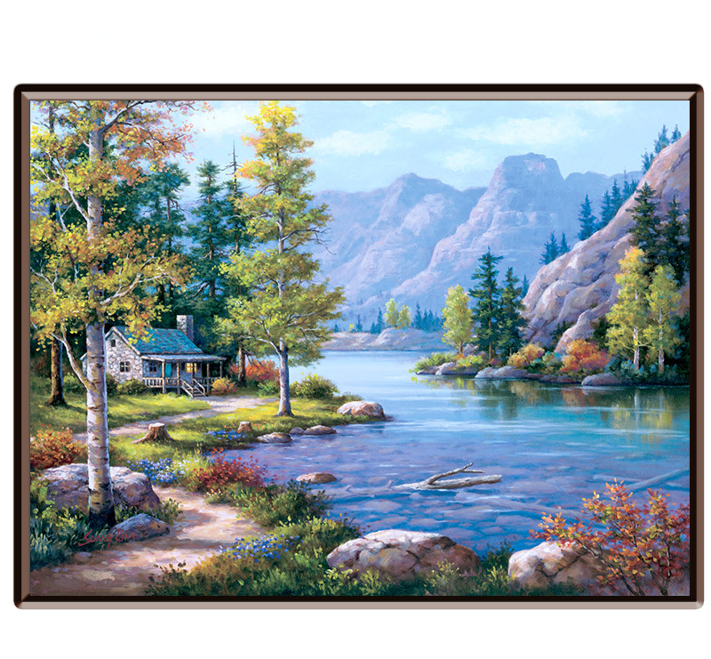 Enmarcado montaña lago paisaje pintura al óleo por números arte de ...